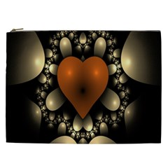 Fractal Of A Red Heart Surrounded By Beige Ball Cosmetic Bag (XXL)