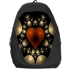 Fractal Of A Red Heart Surrounded By Beige Ball Backpack Bag
