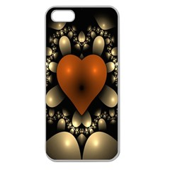 Fractal Of A Red Heart Surrounded By Beige Ball Apple Seamless Iphone 5 Case (clear)