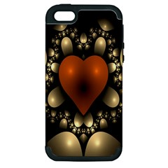 Fractal Of A Red Heart Surrounded By Beige Ball Apple iPhone 5 Hardshell Case (PC+Silicone)