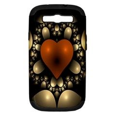 Fractal Of A Red Heart Surrounded By Beige Ball Samsung Galaxy S III Hardshell Case (PC+Silicone)