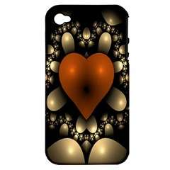 Fractal Of A Red Heart Surrounded By Beige Ball Apple iPhone 4/4S Hardshell Case (PC+Silicone)