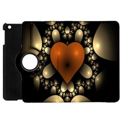 Fractal Of A Red Heart Surrounded By Beige Ball Apple iPad Mini Flip 360 Case