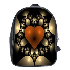 Fractal Of A Red Heart Surrounded By Beige Ball School Bags (xl)