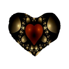Fractal Of A Red Heart Surrounded By Beige Ball Standard 16  Premium Heart Shape Cushions