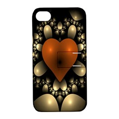 Fractal Of A Red Heart Surrounded By Beige Ball Apple iPhone 4/4S Hardshell Case with Stand