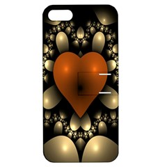 Fractal Of A Red Heart Surrounded By Beige Ball Apple iPhone 5 Hardshell Case with Stand