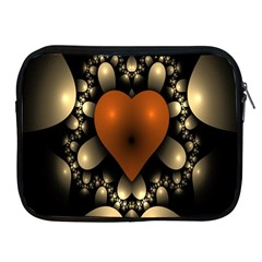 Fractal Of A Red Heart Surrounded By Beige Ball Apple iPad 2/3/4 Zipper Cases