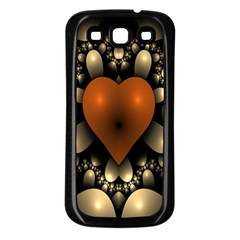 Fractal Of A Red Heart Surrounded By Beige Ball Samsung Galaxy S3 Back Case (Black)