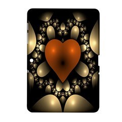 Fractal Of A Red Heart Surrounded By Beige Ball Samsung Galaxy Tab 2 (10.1 ) P5100 Hardshell Case