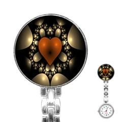 Fractal Of A Red Heart Surrounded By Beige Ball Stainless Steel Nurses Watch