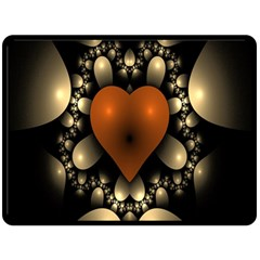 Fractal Of A Red Heart Surrounded By Beige Ball Double Sided Fleece Blanket (Large)
