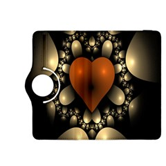 Fractal Of A Red Heart Surrounded By Beige Ball Kindle Fire HDX 8.9  Flip 360 Case