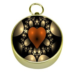 Fractal Of A Red Heart Surrounded By Beige Ball Gold Compasses