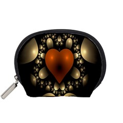 Fractal Of A Red Heart Surrounded By Beige Ball Accessory Pouches (Small)