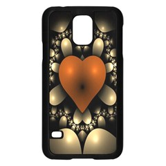 Fractal Of A Red Heart Surrounded By Beige Ball Samsung Galaxy S5 Case (Black)