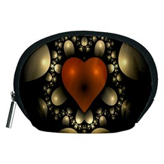 Fractal Of A Red Heart Surrounded By Beige Ball Accessory Pouches (Medium)