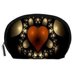 Fractal Of A Red Heart Surrounded By Beige Ball Accessory Pouches (Large)