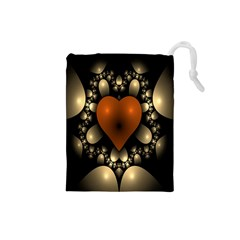 Fractal Of A Red Heart Surrounded By Beige Ball Drawstring Pouches (Small)