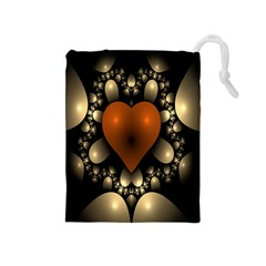 Fractal Of A Red Heart Surrounded By Beige Ball Drawstring Pouches (Medium)