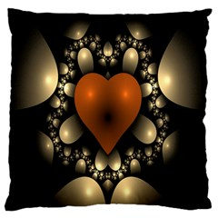 Fractal Of A Red Heart Surrounded By Beige Ball Large Flano Cushion Case (One Side)