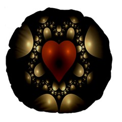 Fractal Of A Red Heart Surrounded By Beige Ball Large 18  Premium Flano Round Cushions