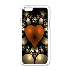 Fractal Of A Red Heart Surrounded By Beige Ball Apple Iphone 6/6s White Enamel Case