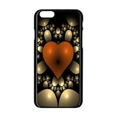 Fractal Of A Red Heart Surrounded By Beige Ball Apple Iphone 6/6s Black Enamel Case