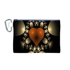 Fractal Of A Red Heart Surrounded By Beige Ball Canvas Cosmetic Bag (M)