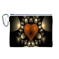 Fractal Of A Red Heart Surrounded By Beige Ball Canvas Cosmetic Bag (L)