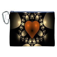 Fractal Of A Red Heart Surrounded By Beige Ball Canvas Cosmetic Bag (xxl)