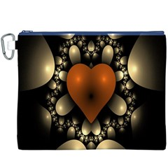 Fractal Of A Red Heart Surrounded By Beige Ball Canvas Cosmetic Bag (XXXL)