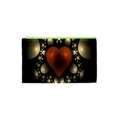 Fractal Of A Red Heart Surrounded By Beige Ball Cosmetic Bag (XS)
