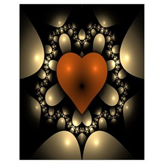 Fractal Of A Red Heart Surrounded By Beige Ball Drawstring Bag (Small)