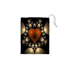 Fractal Of A Red Heart Surrounded By Beige Ball Drawstring Pouches (XS)