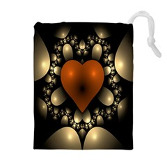 Fractal Of A Red Heart Surrounded By Beige Ball Drawstring Pouches (extra Large)