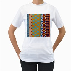 Abstract A Colorful Modern Illustration Women s T-Shirt (White) (Two Sided)