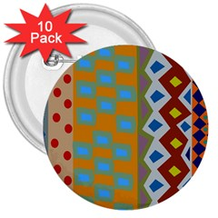 Abstract A Colorful Modern Illustration 3  Buttons (10 Pack)