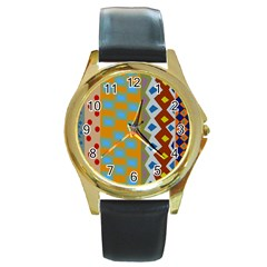 Abstract A Colorful Modern Illustration Round Gold Metal Watch