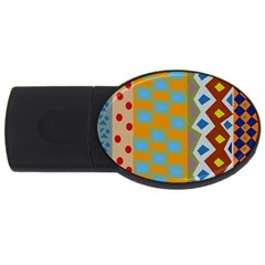 Abstract A Colorful Modern Illustration USB Flash Drive Oval (1 GB)