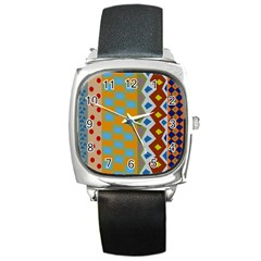 Abstract A Colorful Modern Illustration Square Metal Watch