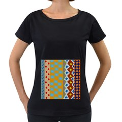 Abstract A Colorful Modern Illustration Women s Loose Fit T Shirt (black)