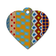 Abstract A Colorful Modern Illustration Dog Tag Heart (two Sides)