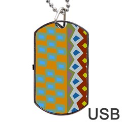 Abstract A Colorful Modern Illustration Dog Tag Usb Flash (one Side)