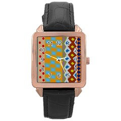 Abstract A Colorful Modern Illustration Rose Gold Leather Watch