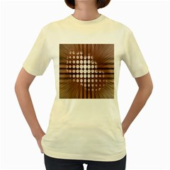 Technical Background With Circles And A Burst Of Color Women s Yellow T-Shirt