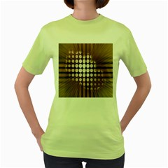 Technical Background With Circles And A Burst Of Color Women s Green T Shirt