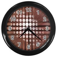 Technical Background With Circles And A Burst Of Color Wall Clocks (black)
