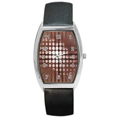 Technical Background With Circles And A Burst Of Color Barrel Style Metal Watch