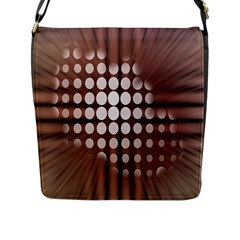 Technical Background With Circles And A Burst Of Color Flap Messenger Bag (L)